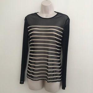 NY & Co Medium Block + Nude Semi Sheer Striped Top